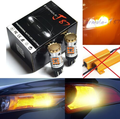 Hyper Flash Free LED Light 7443 Amber Orange Two Bulbs Front Turn Signal Lamp