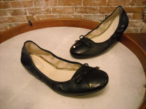 Marc Fisher Black Leather Calandre Ballet Flats NEW