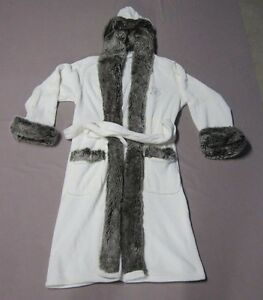 POTTERY BARN WOMENS FAUX FUR HOODED ROBE WHITE GRAY OMBRE MONOGRAM ... 1f7032346