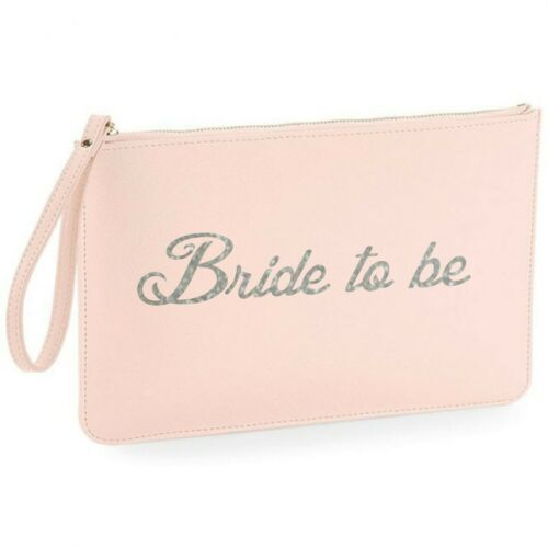 personalised initial faux leather clutch bag pouch Bride to be purse