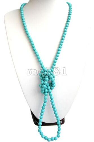 long 8 mm Naturel Bleu Turquoise Ronde Pierres Précieuses Perles Collier AAA environ 91.44 cm 36 in
