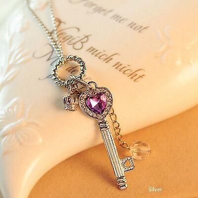 Fashion Women Gold/Silver Love Heart Key Pendant Long Chain Necklace Jewelry