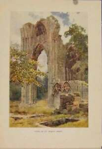 Original-Old-Antique-Print-Painting-By-Haslehust-Ruins-St-Marys-Abbey