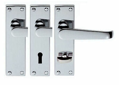 Hinges Latch Polished Chrome Door Handles 112mm Straight Handle Pack Levers