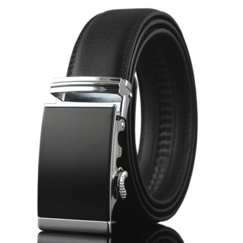 Classic Men/'s Real Leather Belt Automatic Buckle Belt Black Waist Strap Hot Sale