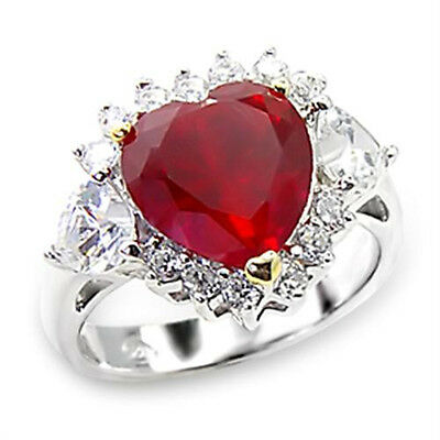 Red Heart Ring CZ Sterling Silver Ring with accents & Free Giftbox