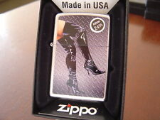 LONG LEGS PINUP GIRL IN HIGH LEATHER BOOTS HIGH HEELED ZIPPO LIGHTER MINT IN BOX