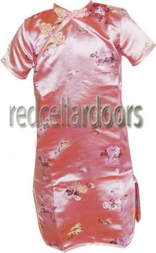 New Girls Chinese Cheongsam Size 1 3-9 Month Baby Girls Adorable Dress Pink Red