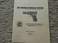 German Mauser Automatic Pistol Manual 1922 Cal 6.35 And 7.65 English Translation