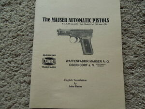 Details about German Mauser Automatic Pistol Manual 1922 Cal 6 35 and 7 65  English Translation