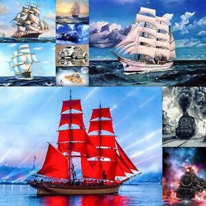 Full-Drill-5D-Diamond-Painting-Sailboat-amp-Train-Embroidery-DIY-Cross-Stitch-Kit
