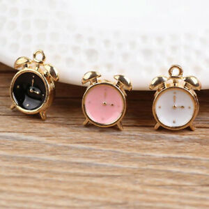 New-10pcs-3D-Enamel-Alarm-Clock-Charm-Pendant-15-10mm-Fit-DIY-Bracelet-Making