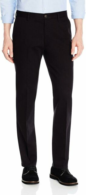 Adriat Men Flat-Front Classic Fit Trousers Wrinkle-Free Slim Stretchy Pants