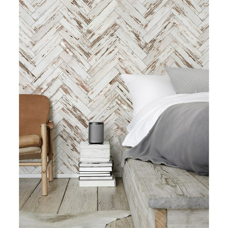 Wooden wall mural Chevron pattern Non-Woven wallpaper traditional home decor