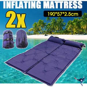 2x-Self-Inflating-Mattress-Camping-Hiking-Airbed-Mat-Sleeping-w-Pillow-Bag-Camp