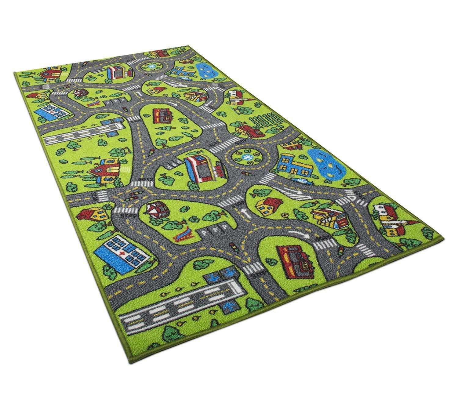 Race Car Track Rug Play Mat Toddlers Kids Carpet Road Toy