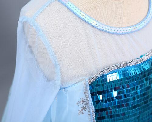 Frozen Princess Elsa Kids Girls Long Sleeve Dress Costume Birthday Party ZG8