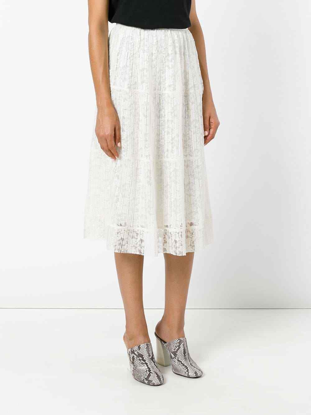 NEW  SEE BY CHLOÉ micro-pleat lace skirt Natural White [ SZ 44 ]  G223
