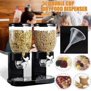 5L Dry Food Storage Double Cereal Candy Nut Dispenser Storage Container Airtight