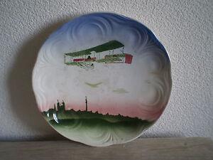 ASSIETTE-2-AVION-BIPLAN-1900-CERAMIQUE-BADONVILLER-ART-NOUVEAU-AVIATION-PIONIER