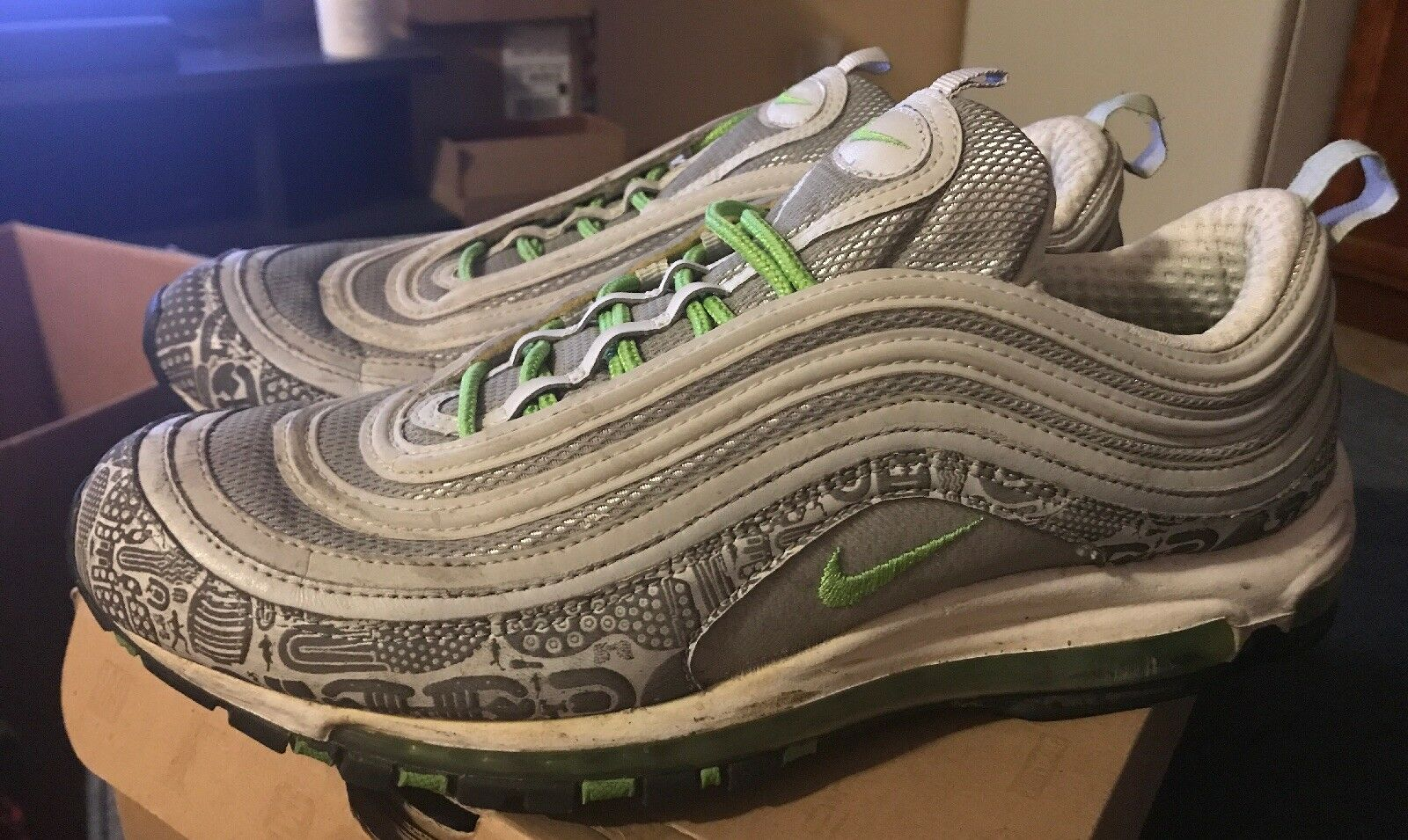 Men's Nike Air Max 97 Rejuvenation Size 13 Green Silver Pre Owned Authentic