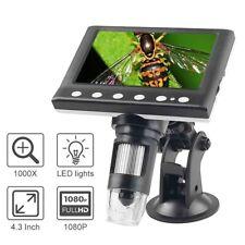 1000x Usb Digital Video Electronic Microscopes 43 Lcd Screen 1080p 8 Led Light