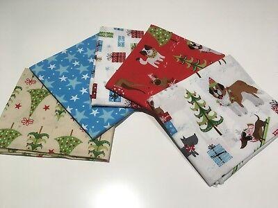 100/% Cotton Fabric Fat Quarters Bundle Christmas Santas Stars Green Red Gold F1