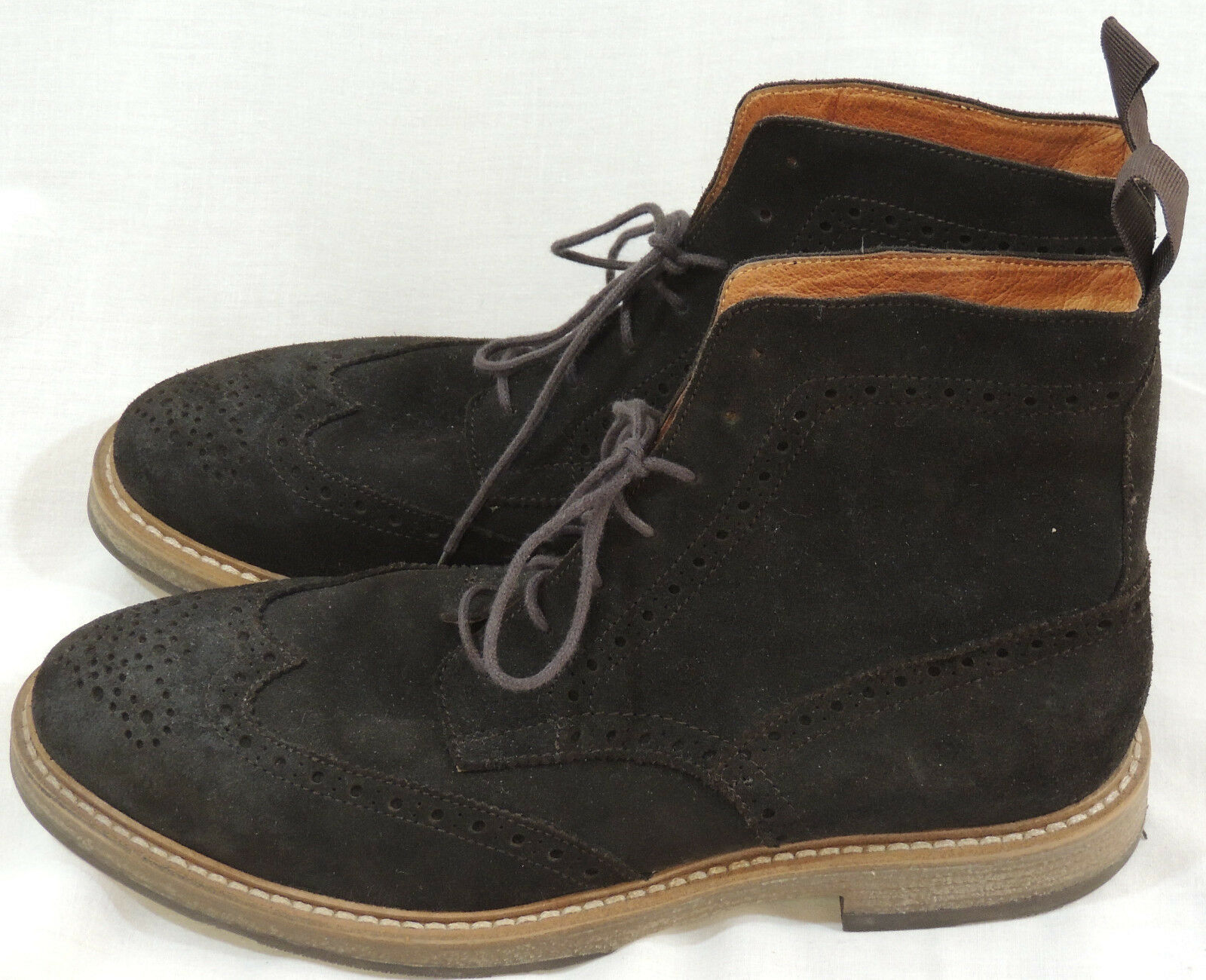 Mens Brown Suede Leather Boots Sz 10.5 M Lace Up MS SEDONA