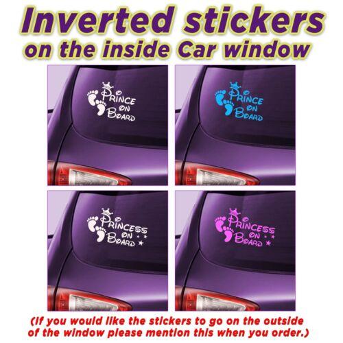 El príncipe y princesa a bordo invertida etiqueta en el interior de la ventana de coche Vinilos