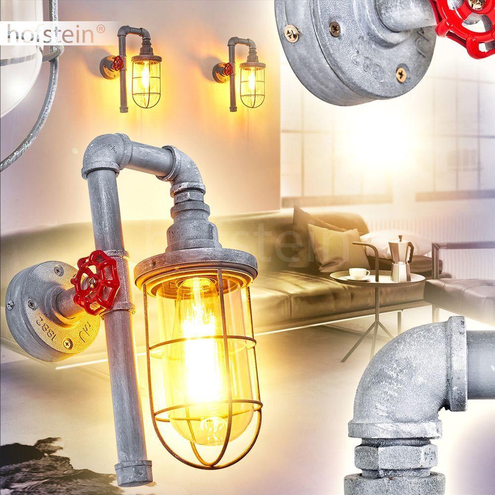 Retro Wand Leuchten Büro Wohn Schlaf Zimmer Lampen Flur Dielen Beleuchtung grau