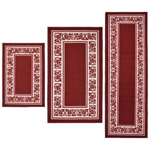Details About Throw Rugs 3 Piece Set Red Kitchen Bath Bedroom Area Floor Mat Runner Ter