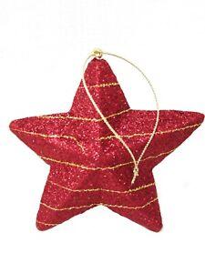 (01762-33908) LOTE 2 COLGANTES ADORNO NAVIDAD CHRISTMAS ESTRELLA ROJA CON DORADO