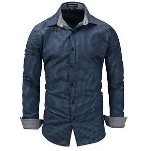 New-Luxury-Striped-Cotton-Men-039-s-Navy-blue-Casual-Long-Sleeve-Dress-Shirts-XT409