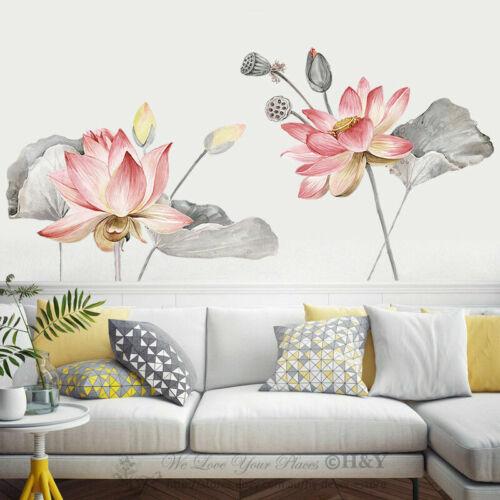 Lotus Flower Botanical Wall Stickers Vinyl Decal Home Shop Decor Art Mural Gift