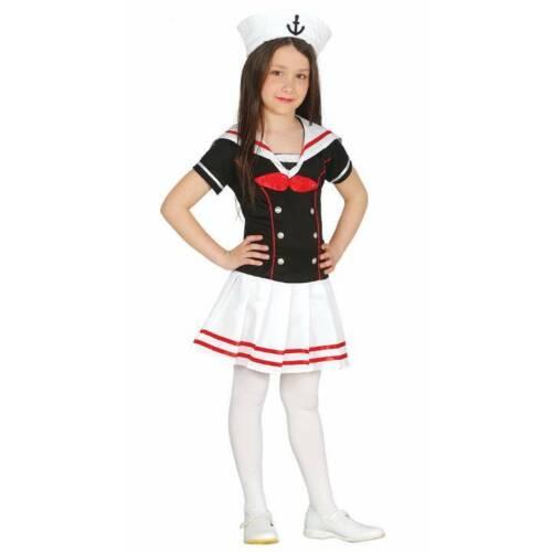 Girls Cute Black Sailor Dress /& Hat Marine Childrens Fancy Dress Costume