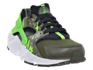 New Nike Huarache Run Print (GS) - Size 6Y - Black/Green Streak - 704943-007