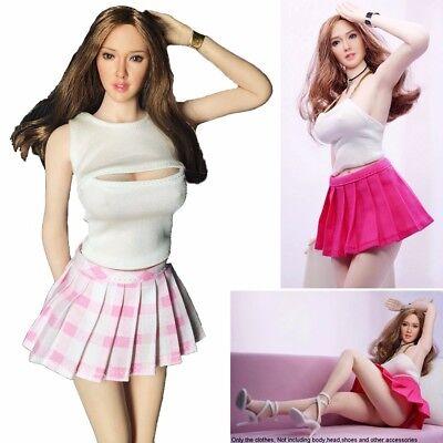 """1//6 Female Black V-Neck Sleeveless Shirt Pleated Mini Skirt Fit 12/"""" Girl Figures"""