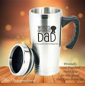 personalised fathers day travel mug gift present dad engraved