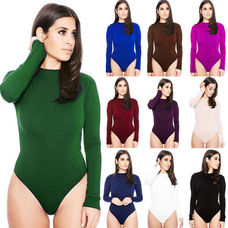 f3a45cd915 Hot Women Ladies Bodysuit Stretch Leotard Long Sleeve Body Tops T shirt  Jumpsuit