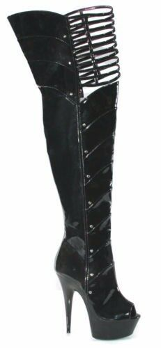 609-KATRINA POLE DANCER STRIPPER THIGH HIGH BOOT SIZE 7