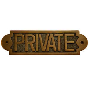 Naitur Solid Brass Quot Private Quot Door Or Wall Sign In 2