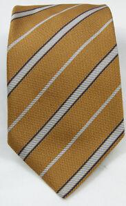 Italian-Ermenegildo-Zegna-Silk-Neck-Tie-Made-in-Italy-QUALITY-Tan-Gold-Stripes