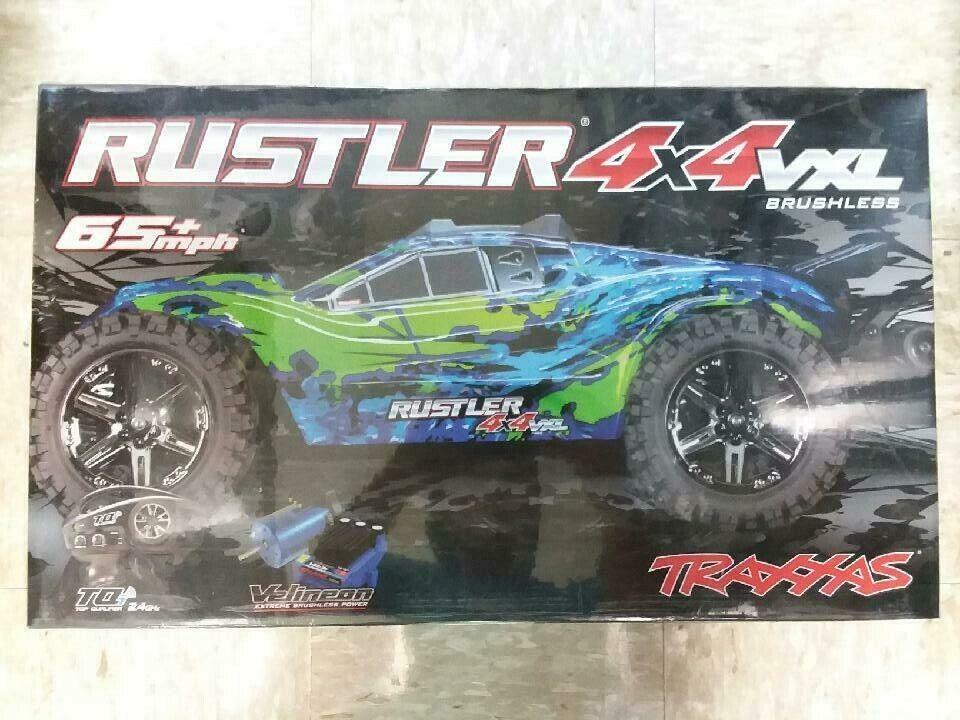 Traxxas 67076-4 Rustler 4X4 VXL Sin escobillas listo para correr 1 10 4WD Estadio Camión Rojo Nuevo