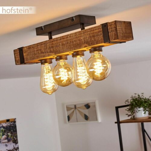 Vintage Decken Lampe Holz Wohn Schlaf Zimmer Beleuchtung Flur Leuchten 4-flammig