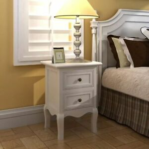 vidaXL-2x-Nightstands-with-2-Drawers-MDF-White-Bedroom-Bedside-Table-Cabinet