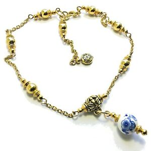 Gold-Ankle-Bracelet-Anklet-Chain-Foot-Jewellery-Blue-Chinese-Bead-Charm