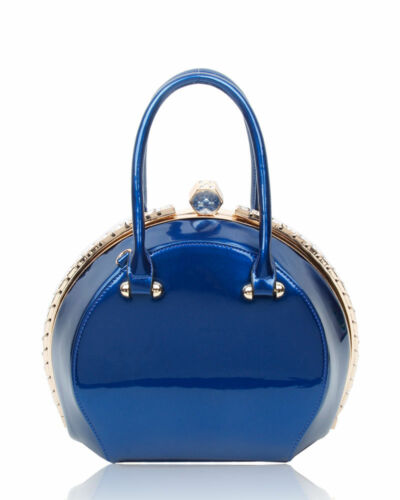 New UK Ladies  Diamante Shoulder Bag Patent Faux Leather Top Handle Handbag