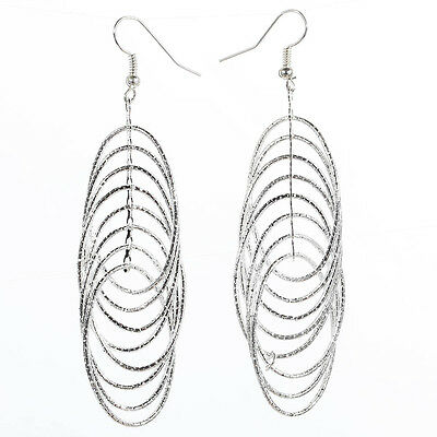 Charming Multilayer Different Round Circle Sliver Plated Earrings In Jewelry