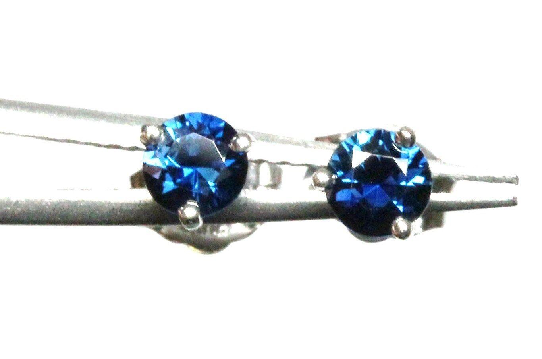 bluee sapphire 0.56 ctw round 14k white gold martini stud earrings 0.55 grams new