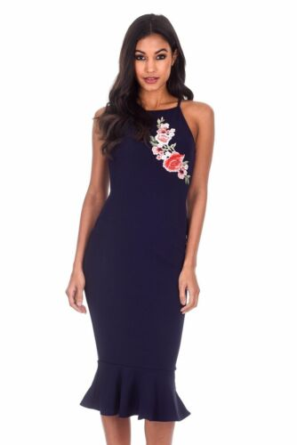 Blu ricamato floreale scuro Bodycon senza Paris Dress Womens Midi Ax maniche ng8XwqPn